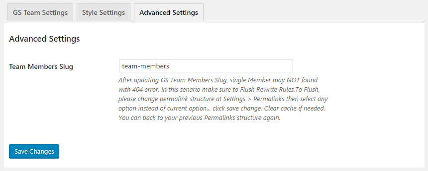 GS Team Advanced Settings