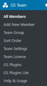 GS Team menu
